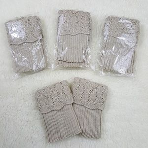 (4) Pairs Of New Crochet Boot Cuffs